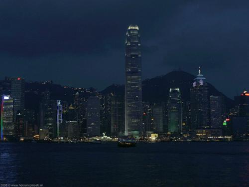 wallpaper: Skyline bij nacht, Hong Kong